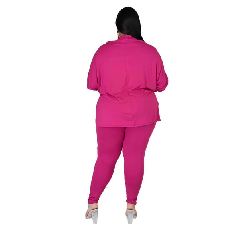 Plus Size Solid Collar Set - rose  red back