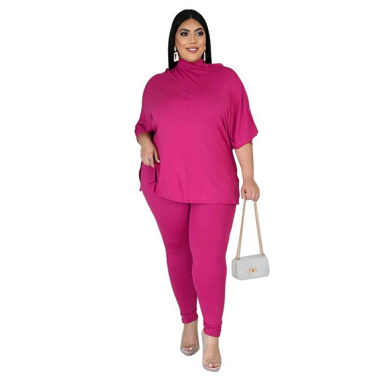 Plus Size Solid Collar Set - rose  red color