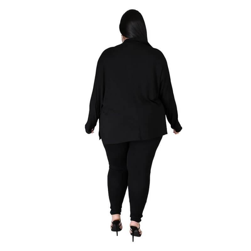 Plus Size Solid Collar Set - black back