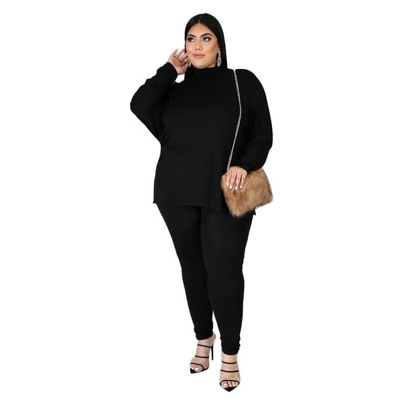 Plus Size Solid Collar Set - black color