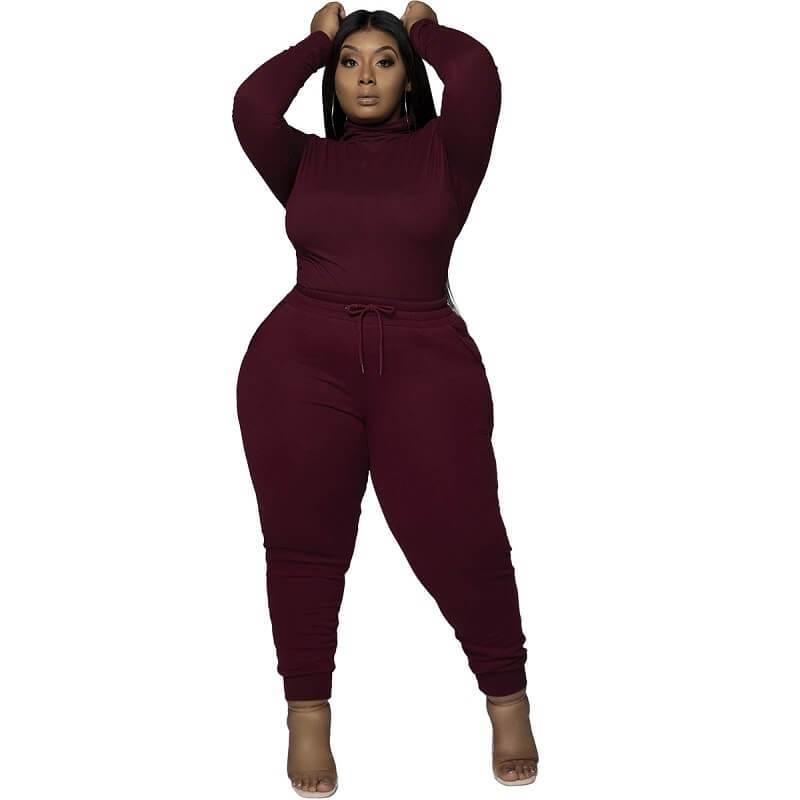 Plus Size Solid Color Casual Suit - wine red color