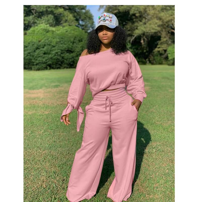 Plus Size Round Neck Two-piece - pink color