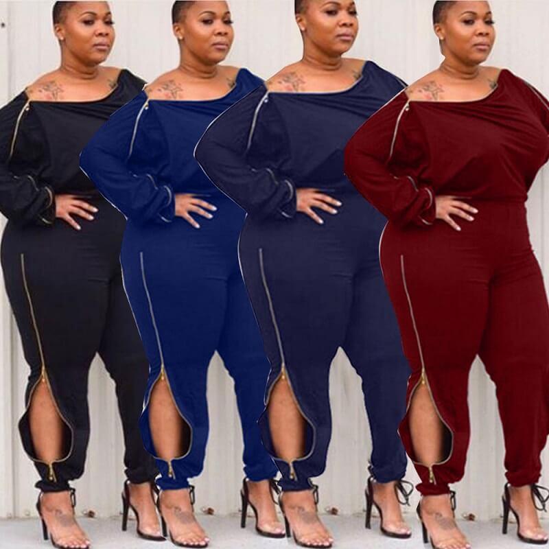 sexy royal blue jumpsuit plus size - main picture