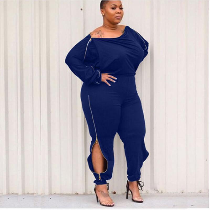 sexy royal blue jumpsuit plus size-blue