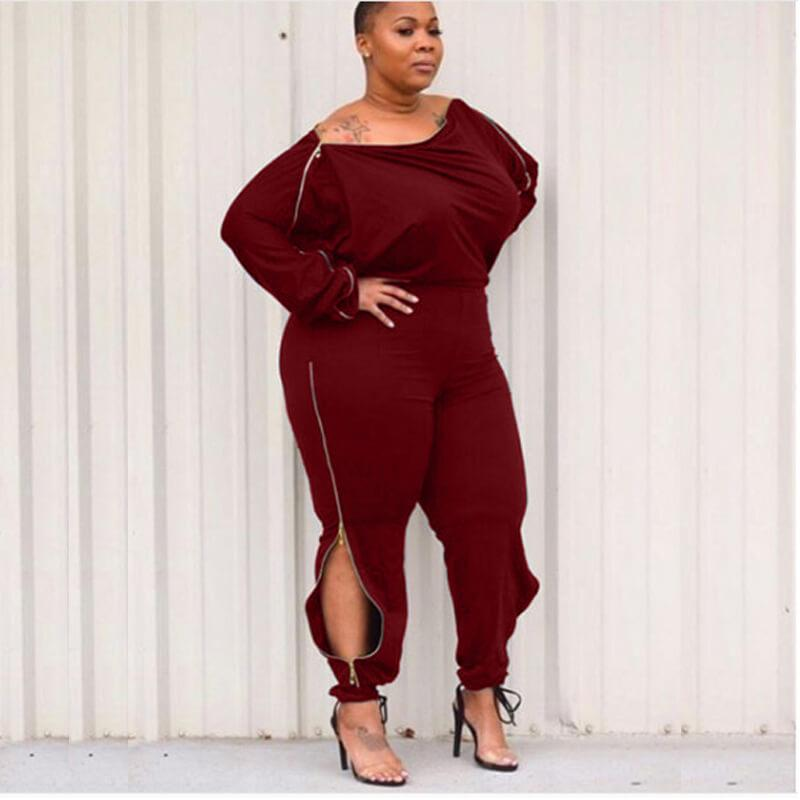 sexy royal blue jumpsuit plus size-wine red