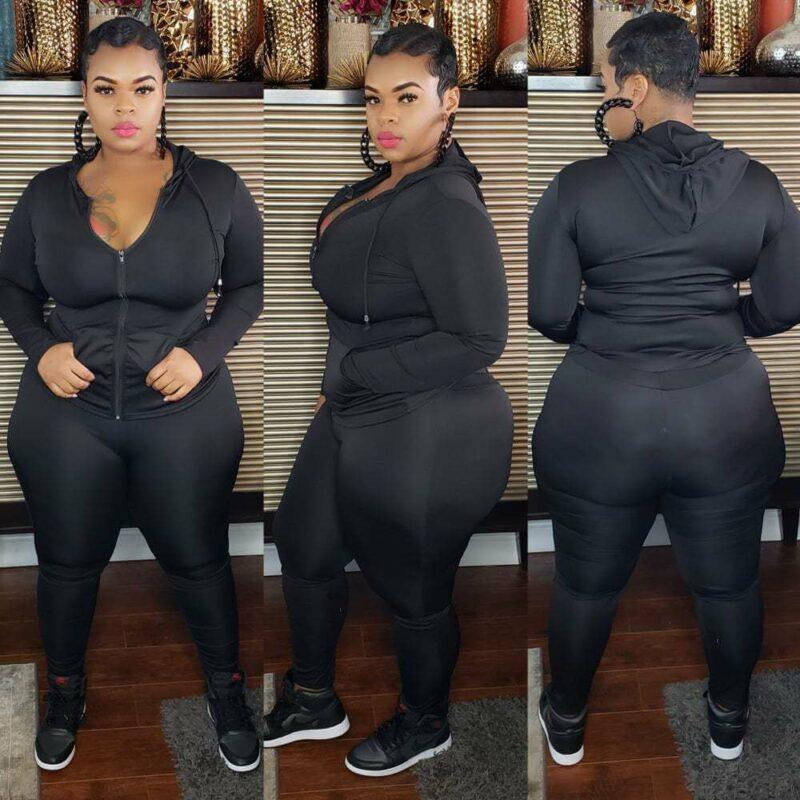 Plus Size Sport 6-color Casual Wear - black color