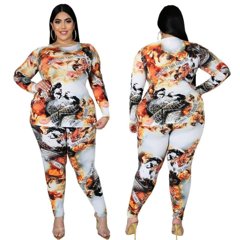 Plus Size Special Printed Long Sleeve Trousers Autumn Winter Suit