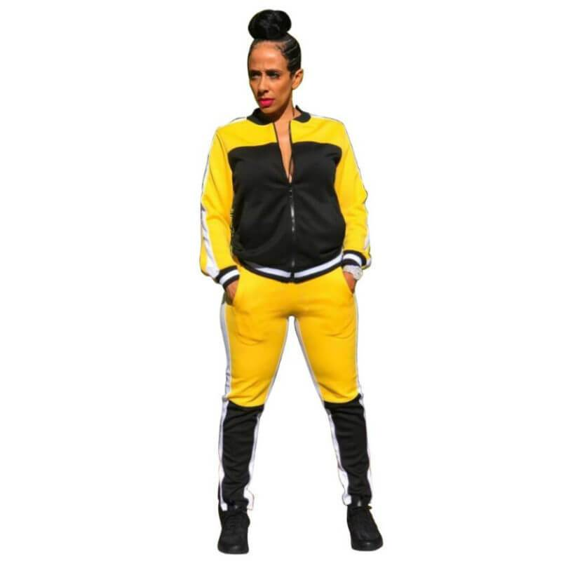 Matching Crop Top and Pants Set - yellow black color