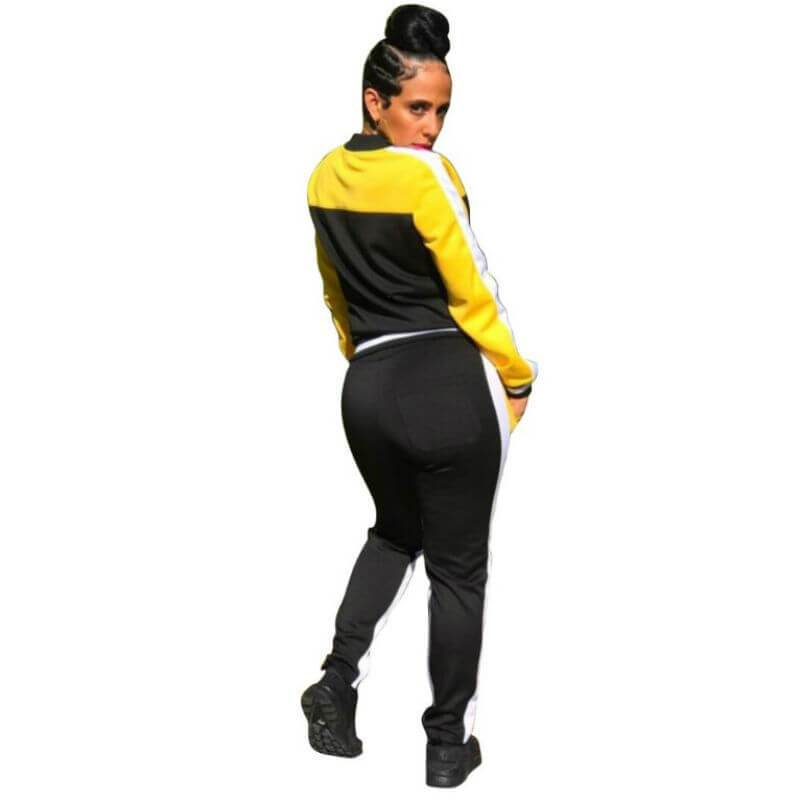 Matching Crop Top and Pants Set - yellow black side