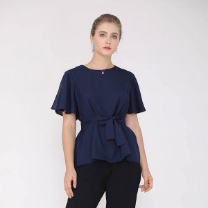 Oversized Solid Color Tie Bow T-shirt - blue color