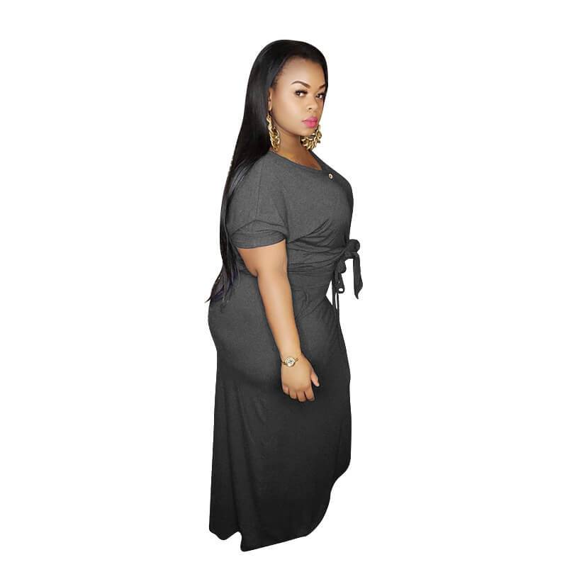 Plus Size Strap Knitted L Two-piece Set- grey left