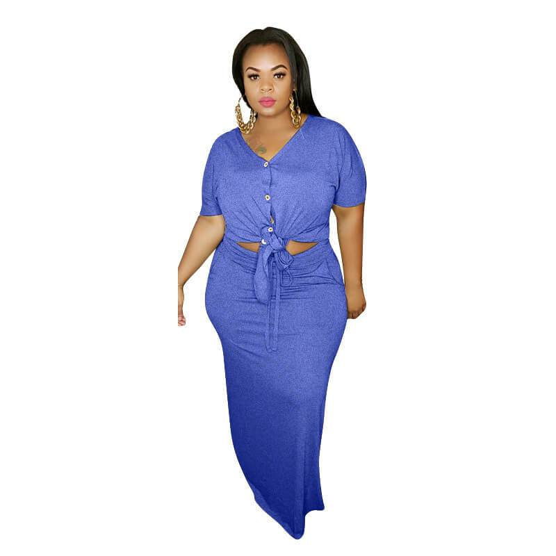 Plus Size Strap Knitted L Two-piece Set- blue positive