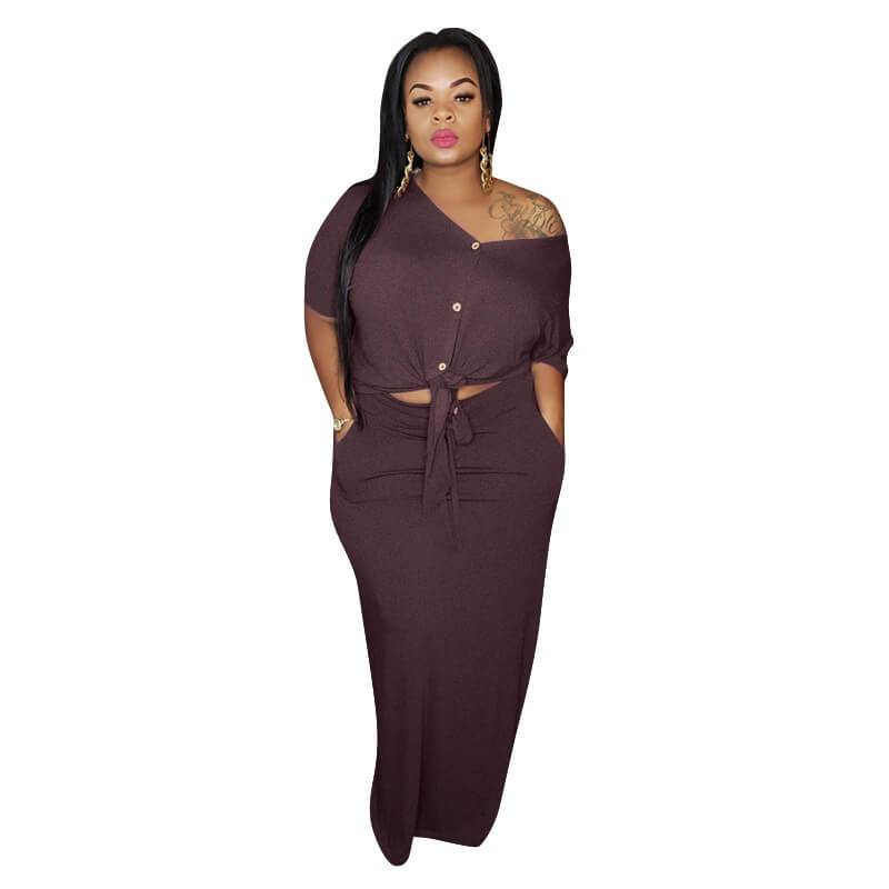 Plus Size Strap Knitted L Two-piece Set- red color