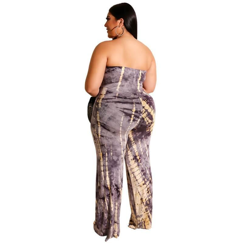 Strapless Plus Size Jumpsuit - gray back