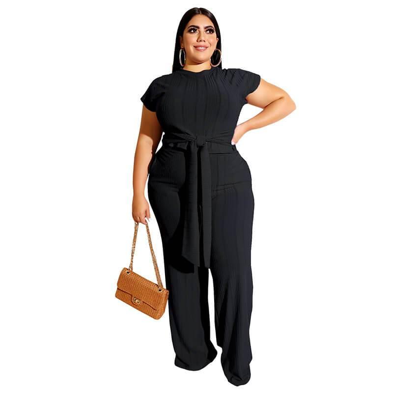 Plus Size Strappy Solid Color Sets - black color