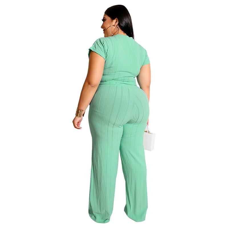 Plus Size Strappy Solid Color Sets - green back