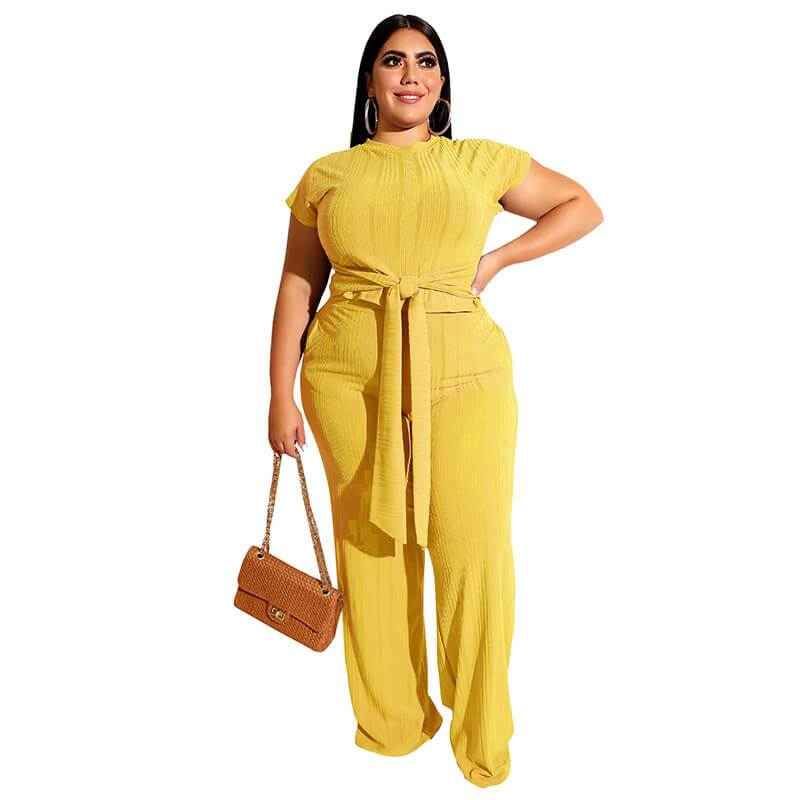 Plus Size Strappy Solid Color Sets - yellow  color