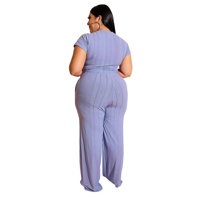 Plus Size Strappy Solid Color Sets - blue  back