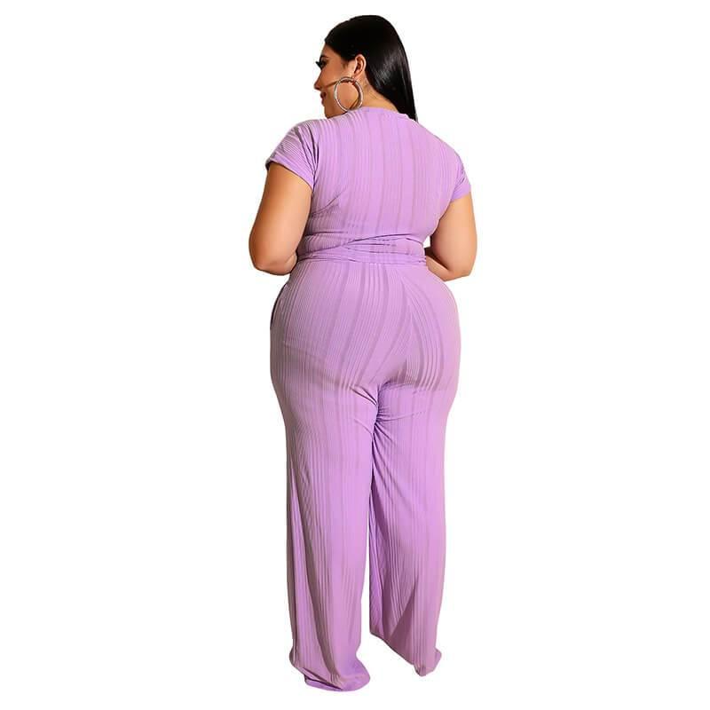 Plus Size Strappy Solid Color Sets - purple   back