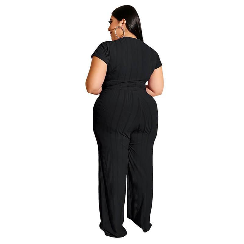 Plus Size Strappy Solid Color Sets - black back