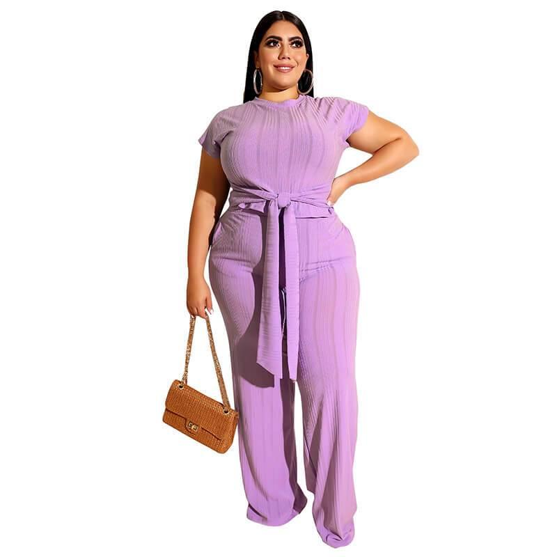 Plus Size Strappy Solid Color Sets - purple  color