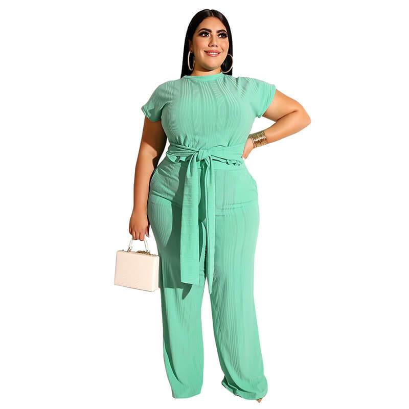 Plus Size Strappy Solid Color Sets - green color