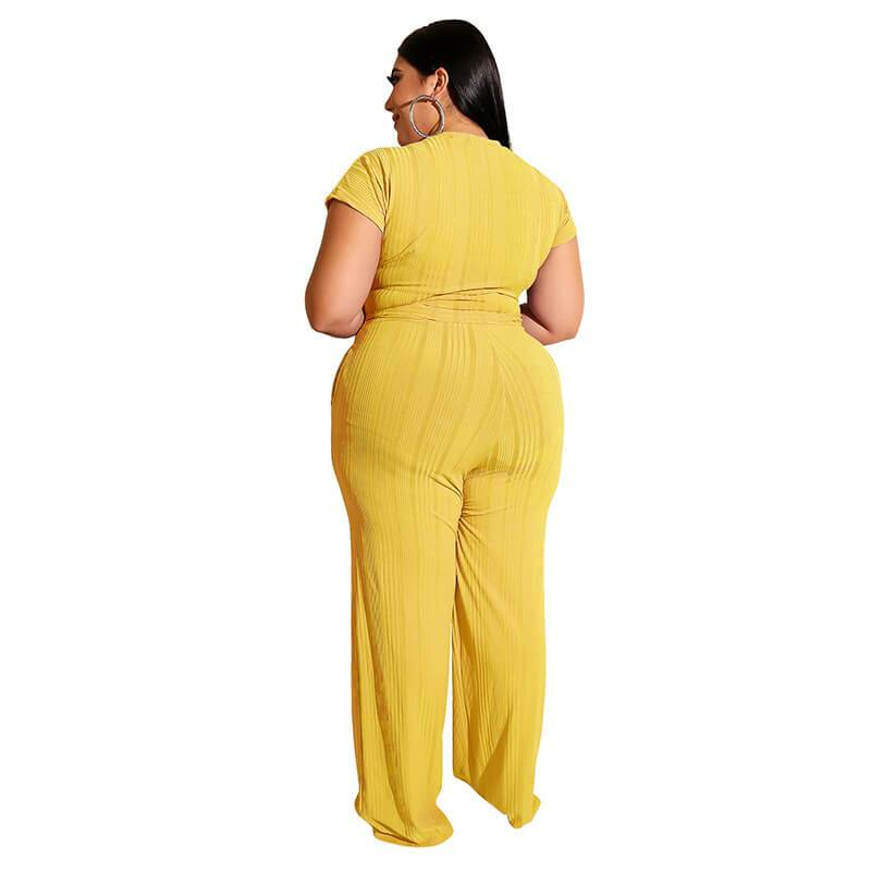 Plus Size Strappy Solid Color Sets - yellow back