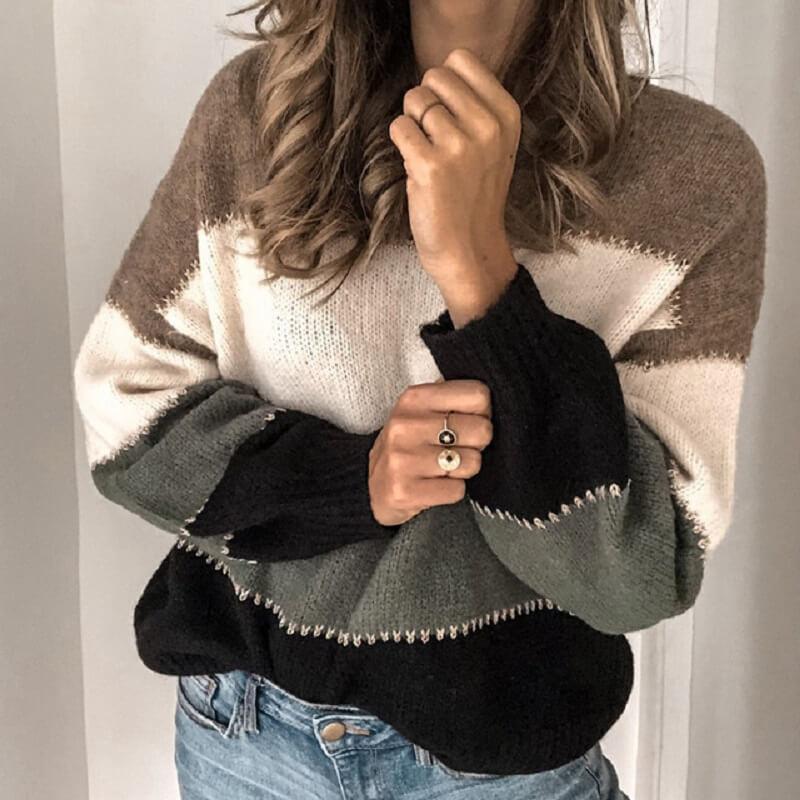 Plus Size Blue Sweater - black color