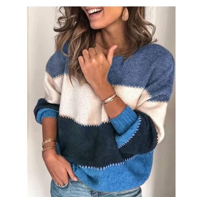Plus Size Blue Sweater - blue color