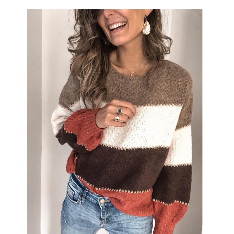Plus Size Blue Sweater - orange color