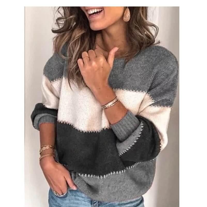 Plus Size Blue Sweater - gray color