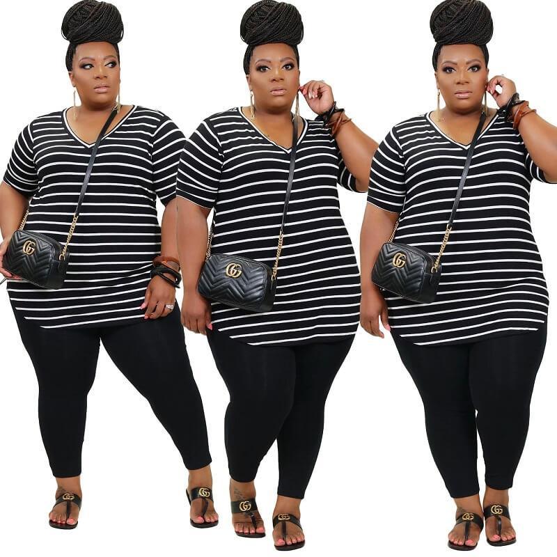 Plus Size Striped Printed Casual Suit - black colors