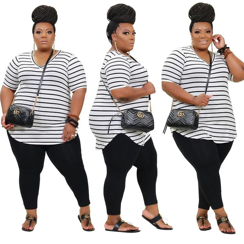Plus Size Striped Printed Casual Suit - white colors