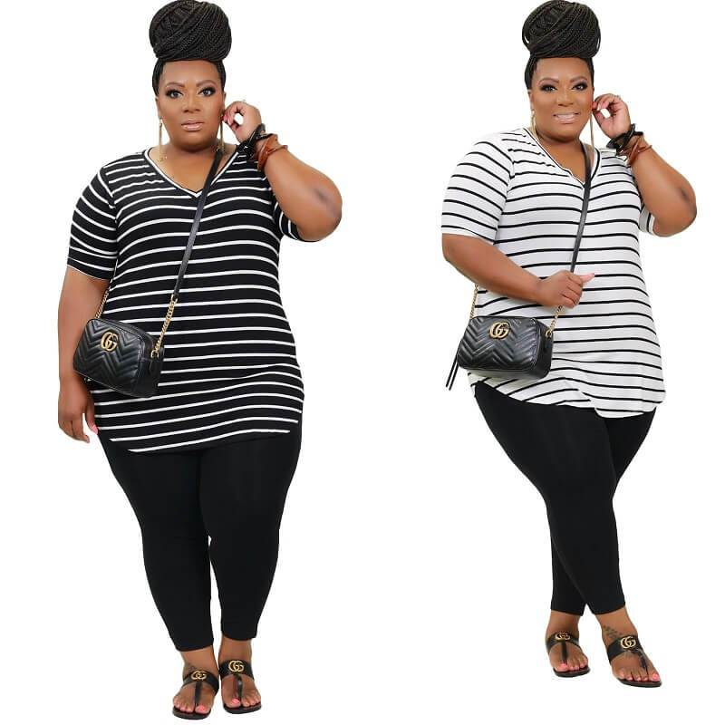 Plus Size Striped Printed Casual Suit - main picture