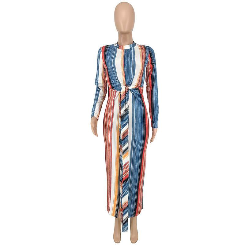 Striped Tight Long-Sleeved Dress - blue positive