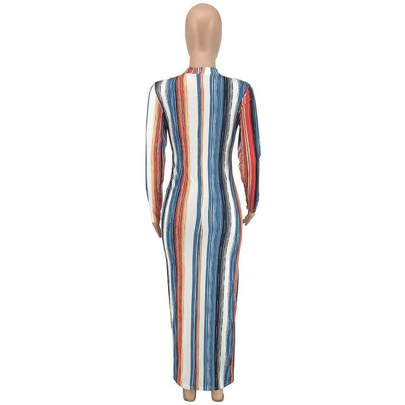 Striped Tight Long-Sleeved Dress - blue back