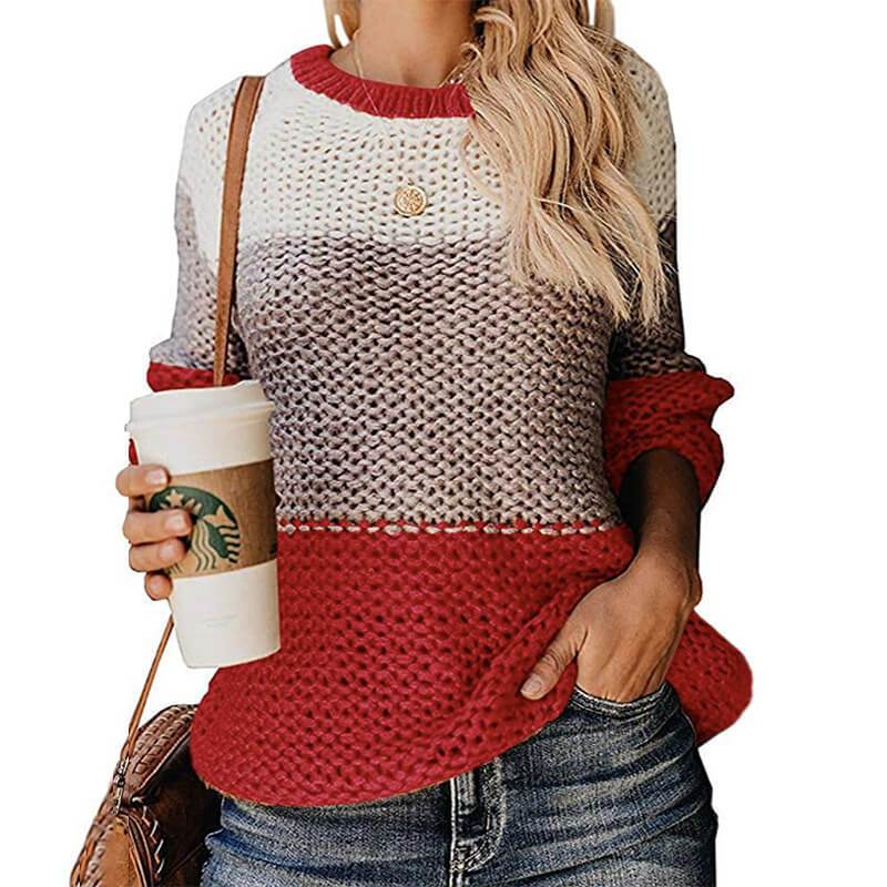 Plus Size Slouchy Sweater - red color