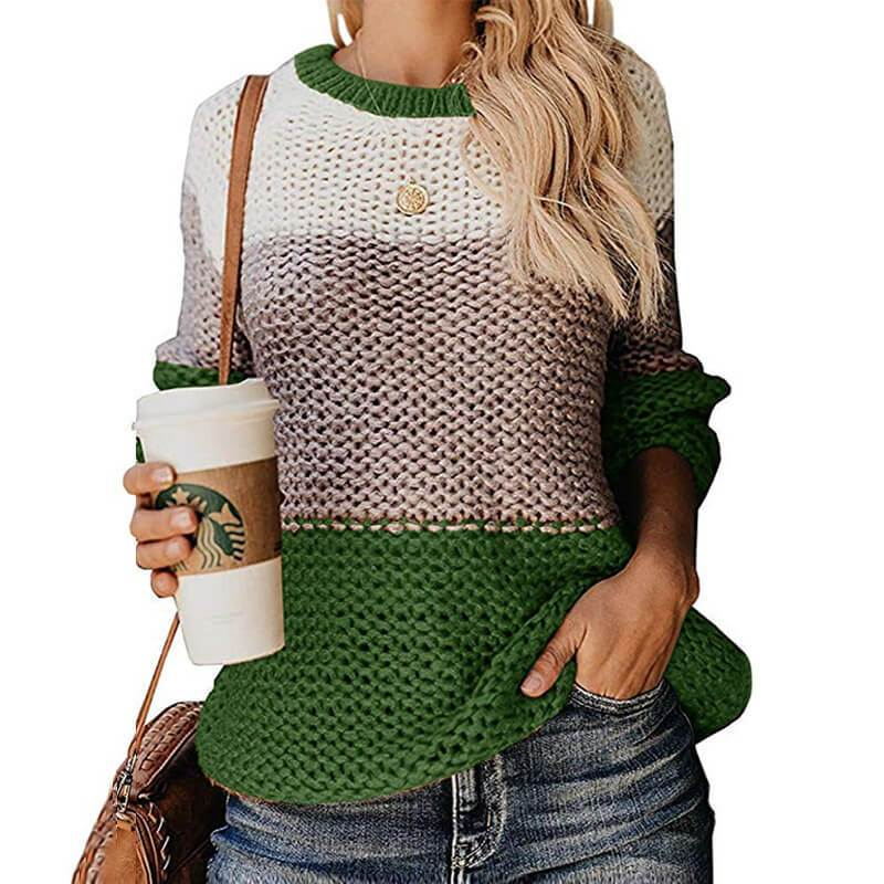 Plus Size Slouchy Sweater - green color
