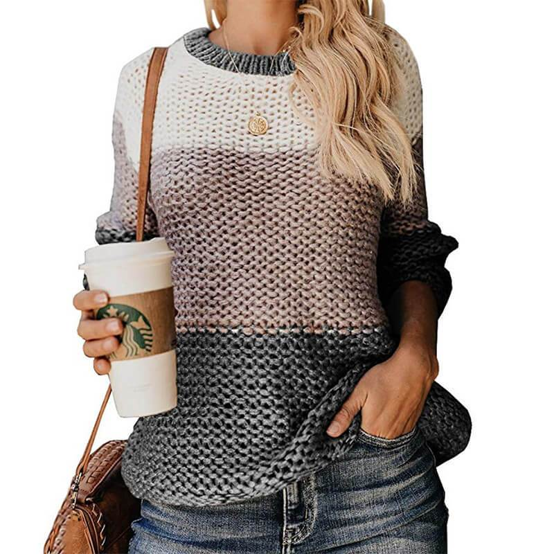 Plus Size Slouchy Sweater - gray color