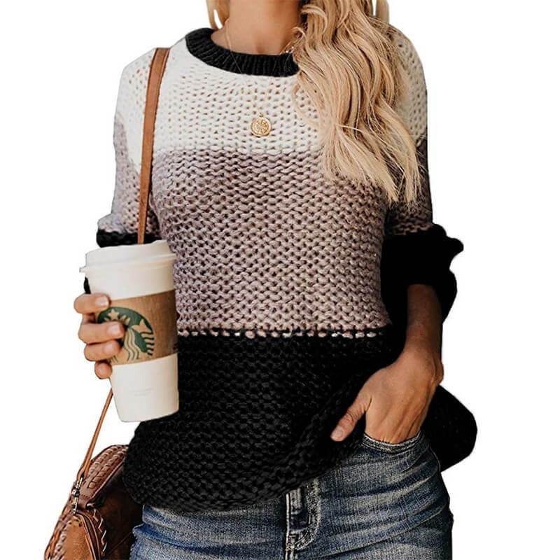 Plus Size Slouchy Sweater - black color
