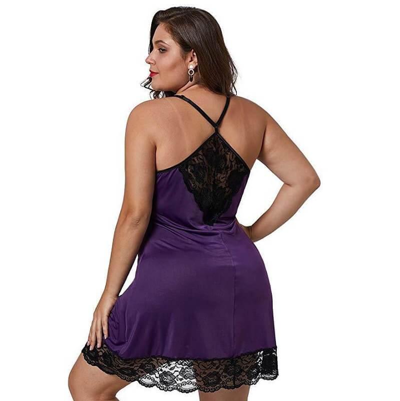 Plus Size Lace Underwear - purple back