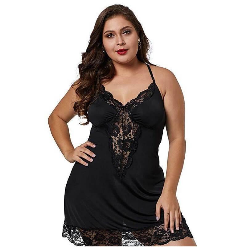 Plus Size Lace Underwear - black positive