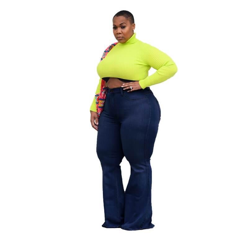 Womens Plus Size Bell Bottom Jeans - deep blue side