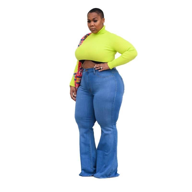 Womens Plus Size Bell Bottom Jeans - light blue side