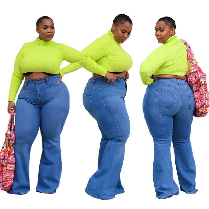 Womens Plus Size Bell Bottom Jeans - light blue color
