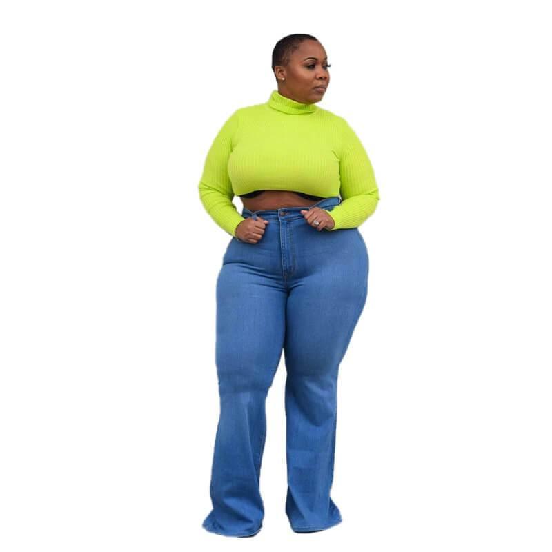 Womens Plus Size Bell Bottom Jeans - light blue positive