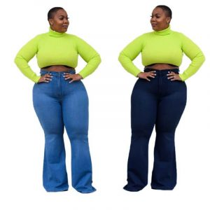 Womens Plus Size Bell Bottom Jeans - main picture