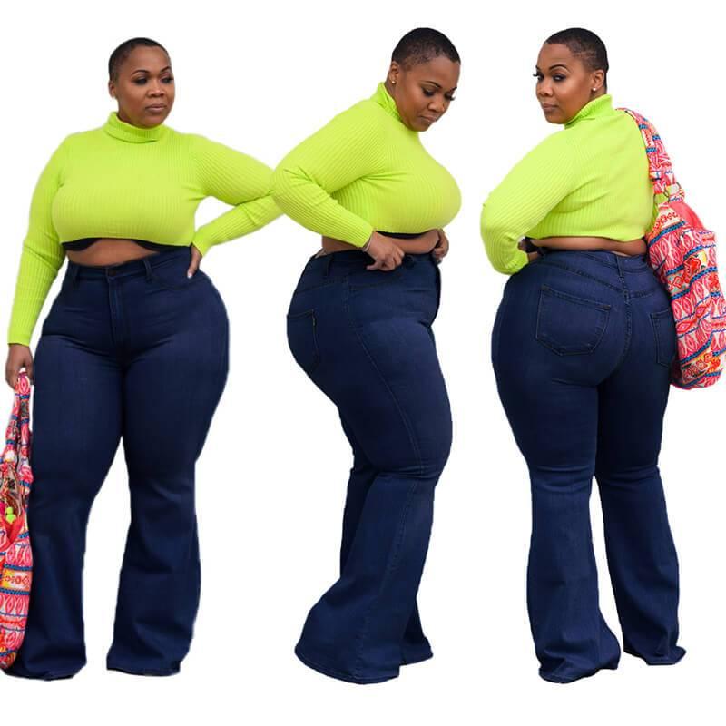 Womens Plus Size Bell Bottom Jeans - deep blue color