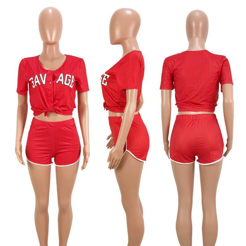 Plus Size Summer 2 Piece Sets Womens - red model picture