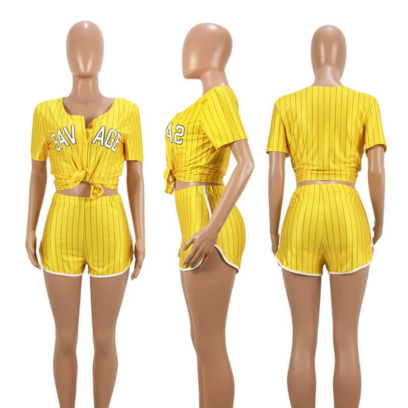 Plus Size Summer 2 Piece Sets Womens - yellow model picture